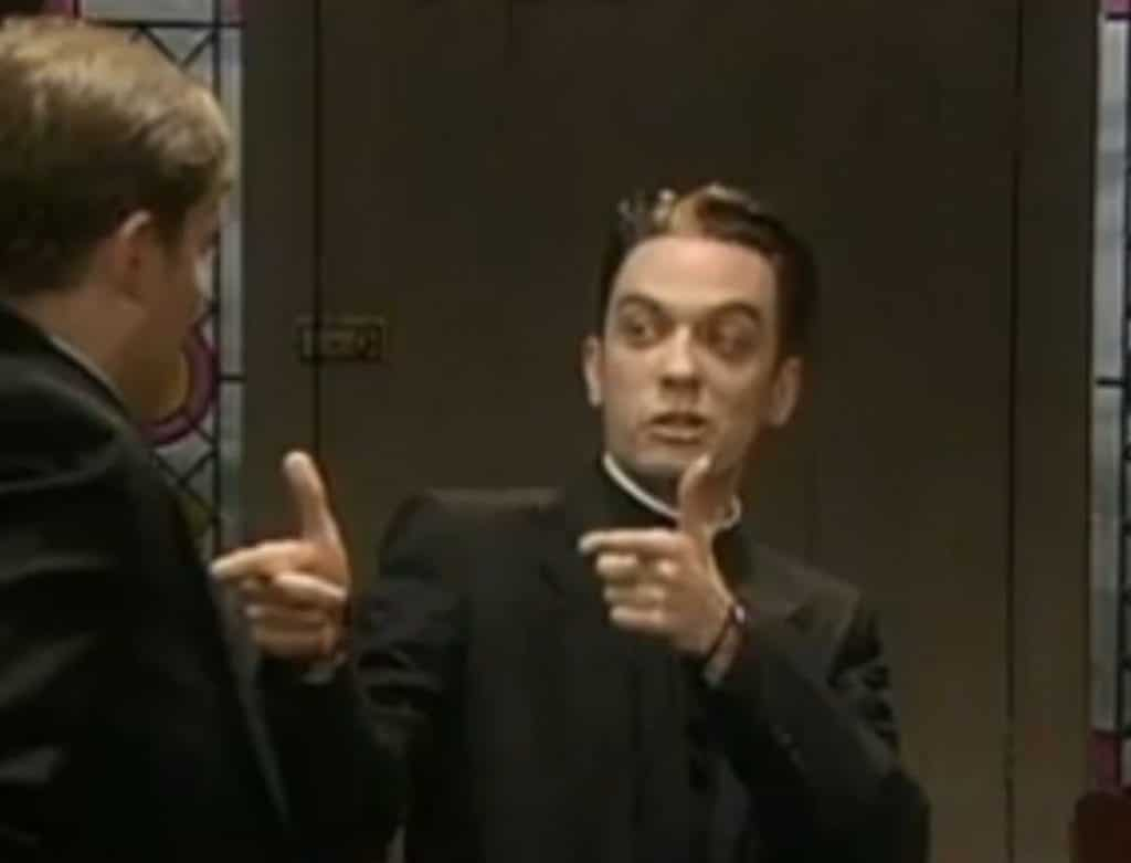Joe Rooney appearing as Father Damo on the popular show Father Ted.