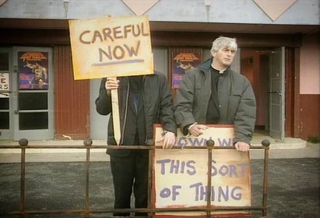 The 'Careful Now' is one of the most memorable scenes from Father Ted.