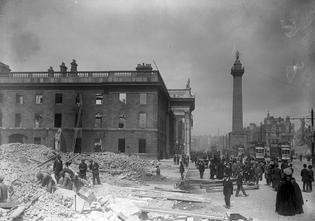 The GPO in the aftermath of the 1916 Easter Rising, where Collins was stationed.